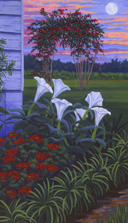 Pea Ridge Moonflowers Acryllic 28 x 48 2004